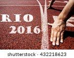 rio 2016 written on running...   Shutterstock . vector #432218623