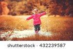 happy child girl running and... | Shutterstock . vector #432239587