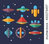 flat ufo spaceships set.... | Shutterstock .eps vector #432273457
