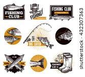 hand drawn fishing logo emblems ... | Shutterstock .eps vector #432307363