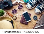 travel accessories for trip on... | Shutterstock . vector #432309427
