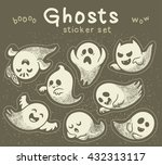 sticker set of cute cartoon... | Shutterstock .eps vector #432313117