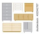 set of cabinet wood furniture... | Shutterstock .eps vector #432341707