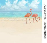 Two Pink Flamingos On A Beach...