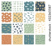set of hand drawn pattern with... | Shutterstock .eps vector #432365587