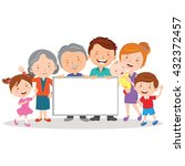 happy family and whiteboard.... | Shutterstock .eps vector #432372457