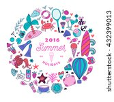summer doodles design  travel... | Shutterstock .eps vector #432399013