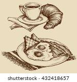 breakfast food  coffee and... | Shutterstock .eps vector #432418657