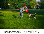 Stock photo blonde boy playing with his black and white dog on the lawn in the park boy is holding a frisbee 432418717