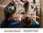 construction of father and son... | Shutterstock . vector #432447367