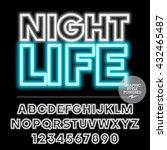 neon bright set of alphabet... | Shutterstock .eps vector #432465487