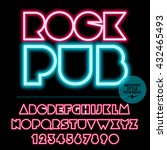 neon bright set of alphabet... | Shutterstock .eps vector #432465493