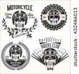set of vintage motorcycle... | Shutterstock .eps vector #432486013