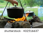 Cooking Outdoors. Cauldron On ...