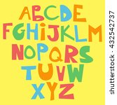 cute funny childish alphabet.... | Shutterstock .eps vector #432542737