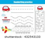 handwriting practice sheet.... | Shutterstock .eps vector #432543133
