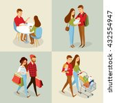 vector sets with people going... | Shutterstock .eps vector #432554947