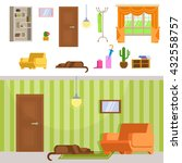 interior hallway room design... | Shutterstock .eps vector #432558757
