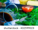glass of wine  raw meat and... | Shutterstock . vector #432599023