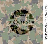 oops  on camo pattern | Shutterstock .eps vector #432623743