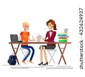 woman teacher tutor tutoring... | Shutterstock .eps vector #432624937