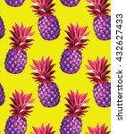 pineapple seamless pattern.... | Shutterstock .eps vector #432627433