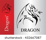 dragon   spreading its wing.... | Shutterstock .eps vector #432667087