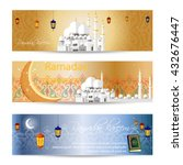 set of beautiful header or... | Shutterstock .eps vector #432676447
