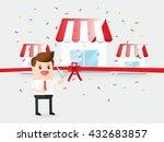 businessman use scissors cut... | Shutterstock .eps vector #432683857