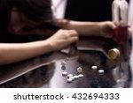 several pill spilled on table... | Shutterstock . vector #432694333