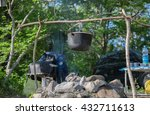 camping pot on a background of... | Shutterstock . vector #432711613