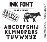 hand made ink stamp font.... | Shutterstock .eps vector #432760207