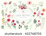 flowers and plants. hand drawn... | Shutterstock .eps vector #432768703