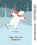 Card With A Polar Bear Skating...