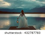 woman waiting on a lake pier... | Shutterstock . vector #432787783