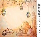 eid mubarak vector sketch... | Shutterstock .eps vector #432809257