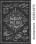 retro meat menu icons on... | Shutterstock .eps vector #432811873