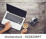 vintage hipster wooden desktop... | Shutterstock . vector #432820897