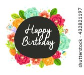 happy birthday card with... | Shutterstock .eps vector #432821197