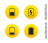 battery charging icons.... | Shutterstock .eps vector #432837013