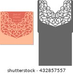 laser cut invitation card.... | Shutterstock .eps vector #432857557