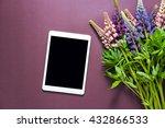 bouquet of flowers on a purple... | Shutterstock . vector #432866533