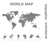 grey world map. continents | Shutterstock .eps vector #432892903