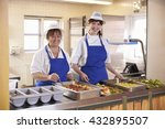 two women waiting to serve...   Shutterstock . vector #432895507
