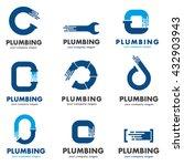 flat logo design for plumbing... | Shutterstock .eps vector #432903943