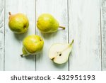 Fresh Pears And Half Pear On...