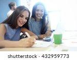 two businesswomen having... | Shutterstock . vector #432959773
