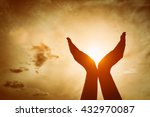 raised hands catching sun on... | Shutterstock . vector #432970087