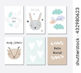 set of cards for baby shower ... | Shutterstock .eps vector #432980623