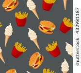 fast food. seamless vector... | Shutterstock .eps vector #432981187